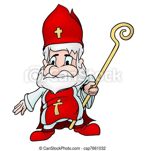 Nikolaus heilige gef rbt abbildung vektor heilige - Saint nicolas dessin couleur ...