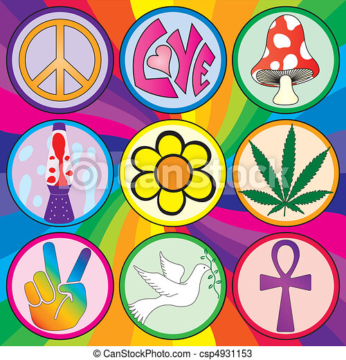 Nine 60s icons on a rainbow background - csp4931153