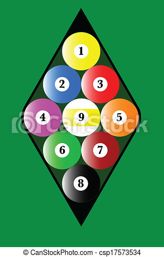 Nine Ball Rack A Pool With The Balls In Correct