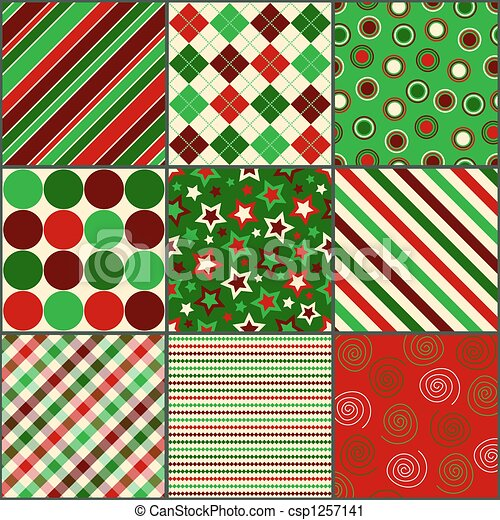 Christmas Colors.Nine Christmas Colored Patterns