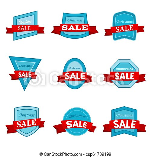 Nine colorful Christmas Sale badges - csp61709199