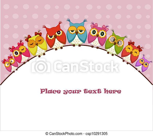 Nine colorful vector owls - csp10291305