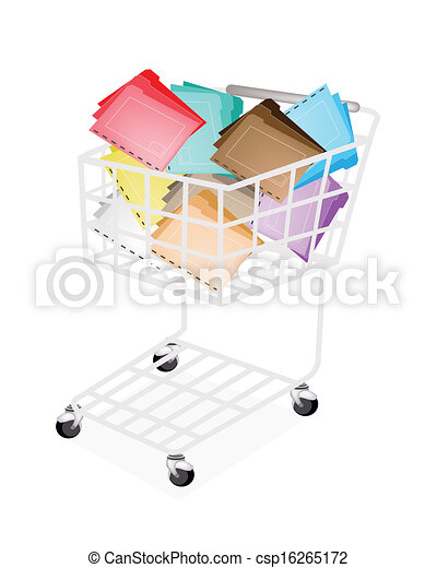 Nine Colors of Tabbed Folder in Shopping Cart - csp16265172