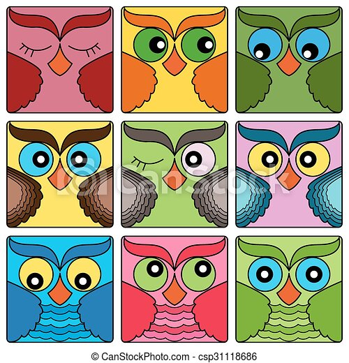 nine cute owl faces in square shapes csp31118686