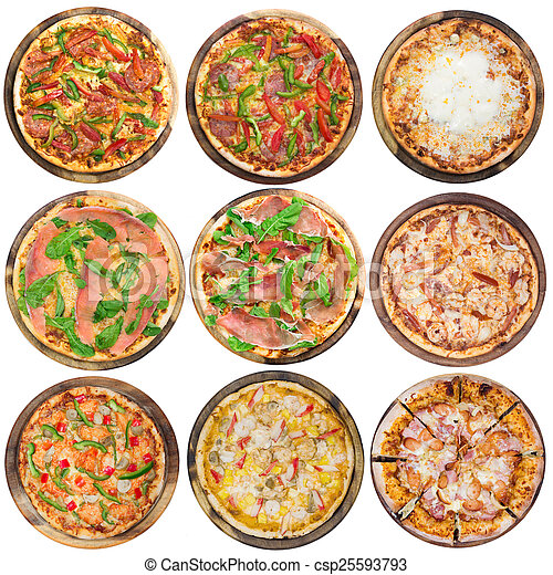 Nine different pizzas in one set, isolated on white, top view - csp25593793