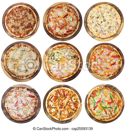 Nine different pizzas in one set, isolated on white, top view - csp25593139