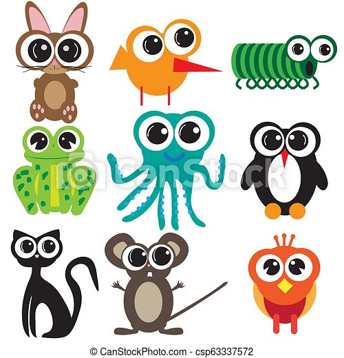 Nine flat designs animals - csp63337572