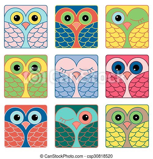 Nine funny owl faces in square shapes - csp30818520