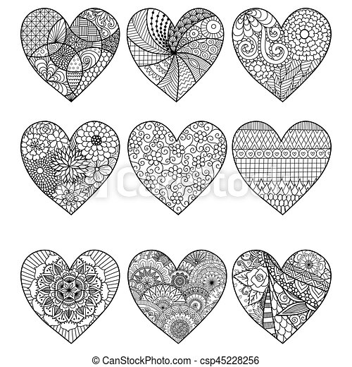 Nine hearts. Zendoodle stylized hearts for coloring book ...