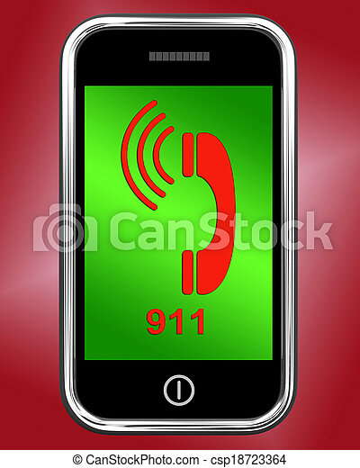 Nine One On Phone Shows Call Emergency Help Rescue 911 - csp18723364