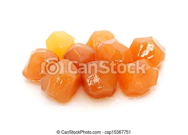Nine pieces of sticky stem ginger - csp15367751