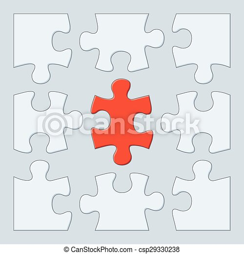 Nine Puzzle Pieces 9 Game Template Vector Jigsaw