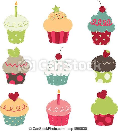 nine retro cupcake cutouts - csp18508301