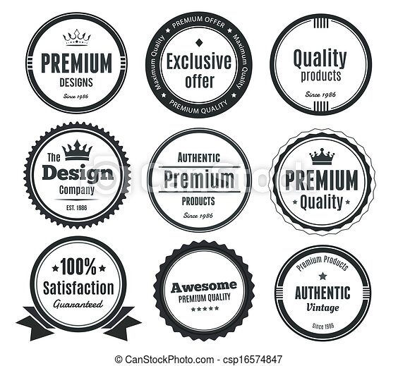 Nine Scalable Vintage Badges - csp16574847