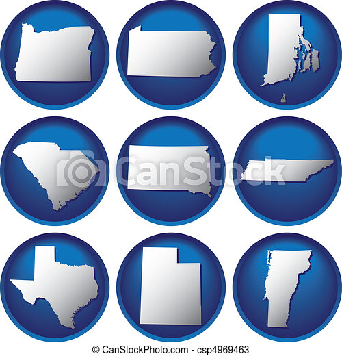 Nine United States Buttons - csp4969463