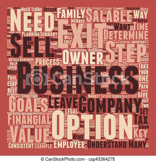 Nine Ways to Exit Your Company text background wordcloud concept - csp43364278