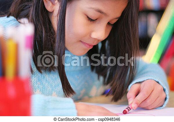 Nine year old drawing - csp0948346