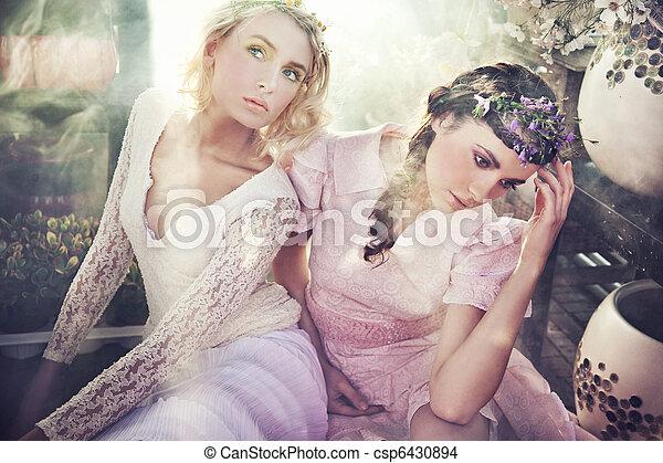 Dos hermosas ninfas de flores - csp6430894