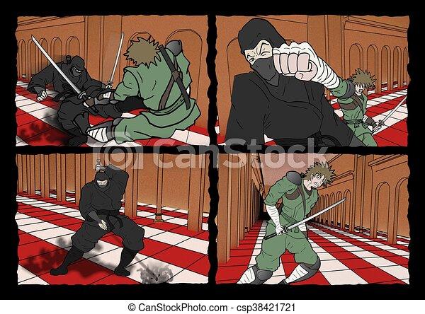 ninja and samurai comic page - csp38421721