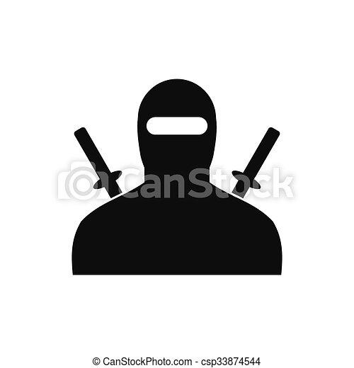 Ninja black simple icon - csp33874544
