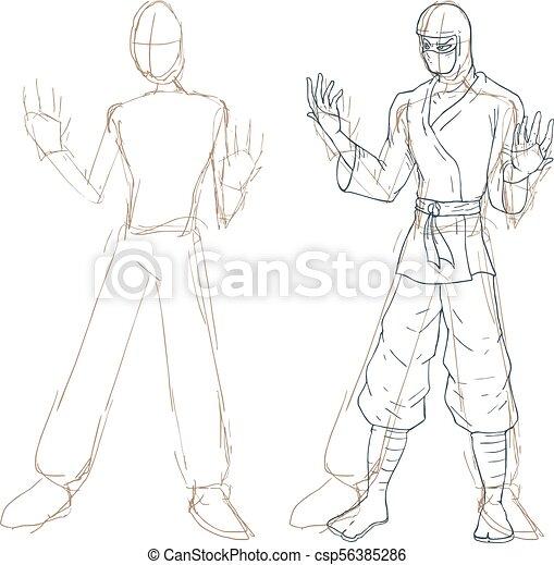 Ilustración de bocetos ninja - csp56385286