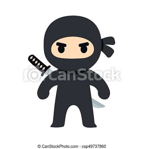 Ilustración ninja de dibujos animados - csp49737860