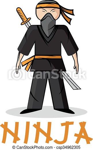 Ilustración joven ninja - csp34962305