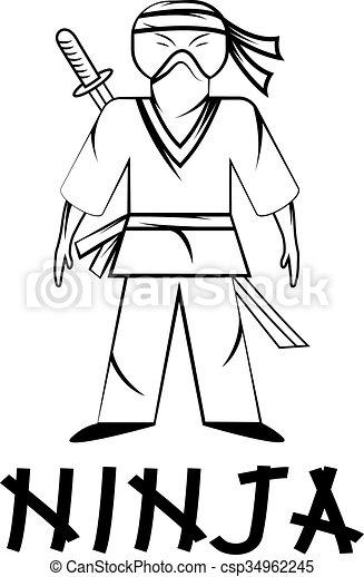 Ilustración joven ninja - csp34962245