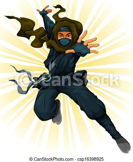 Un ninja Cartoon - csp16398925