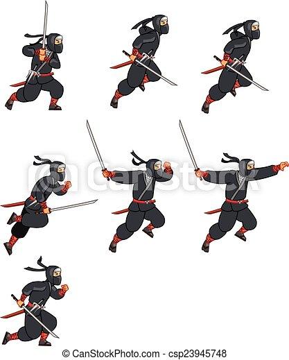 Sprite ninja de dibujos animados - csp23945748