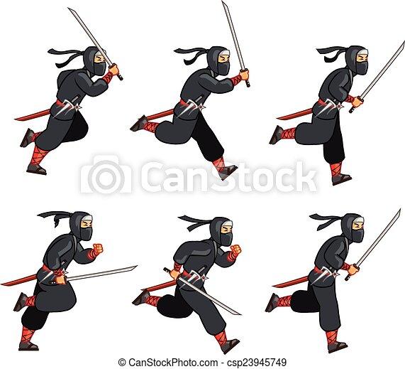 Sprite ninja de dibujos animados - csp23945749