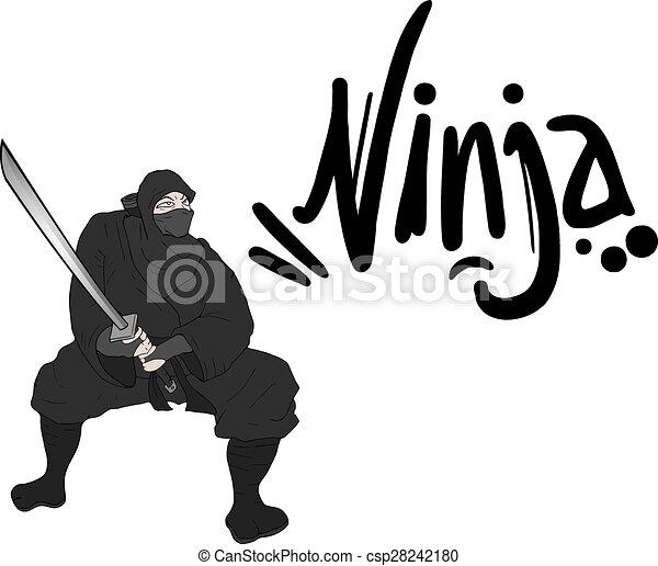 Negro ninja dibuja - csp28242180