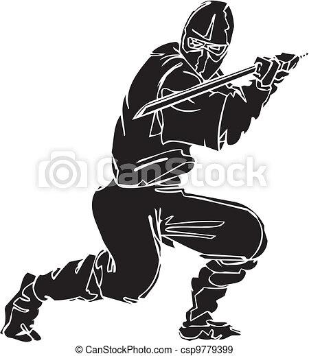 Ninja fighter - vector illustration. Vinyl-ready. - csp9779399