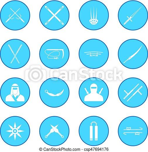 Ninja icon blue - csp47694176