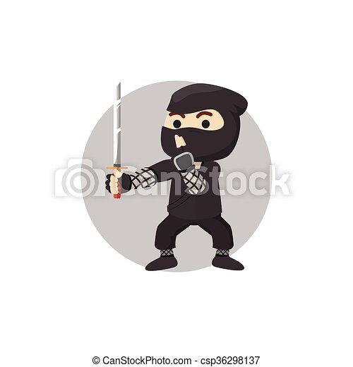 Ilustración de niños ninja - csp36298137