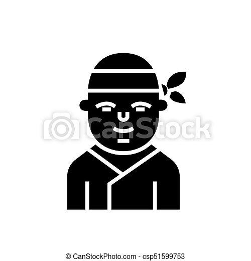 Ninja Japanese Icon Vector Illustration Black Sign On Isolated