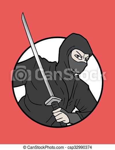 Ilustración ninja japonesa - csp32990374