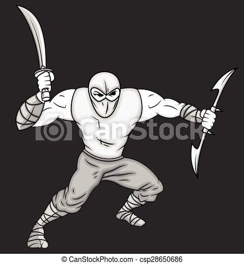 Pose de lucha ninja de dibujos animados - csp28650686