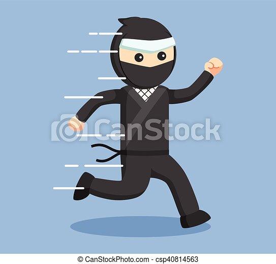 ninja, rennende , vector, illustratie - csp40814563