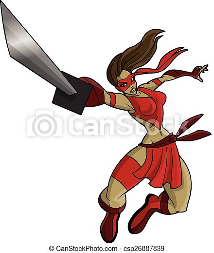 Mujer ninja sexy saltando peleando - csp26887839