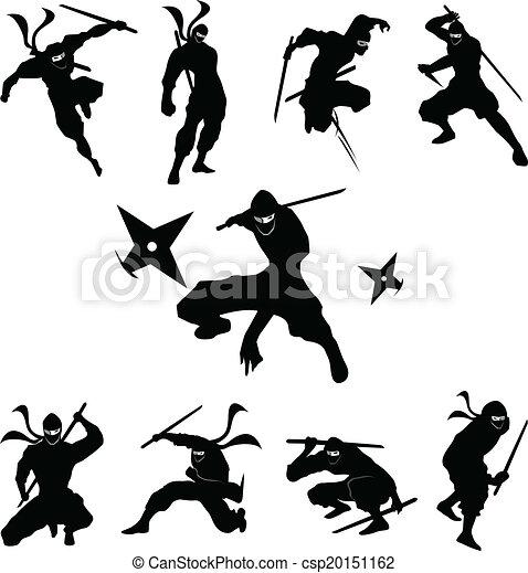 Vector de silueta de sombra ninja - csp20151162