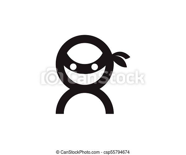 ninja, vector, illustratie, pictogram - csp55794674