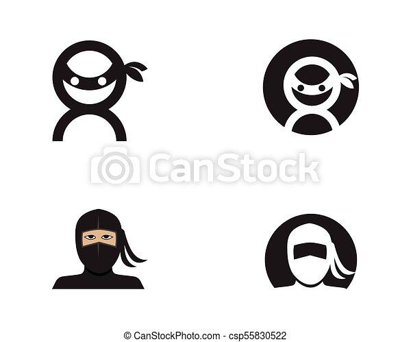 ninja, vector, illustratie, pictogram - csp55830522