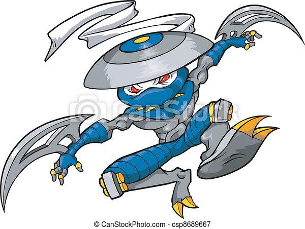 ninja, vector, illustratie, strijder - csp8689667
