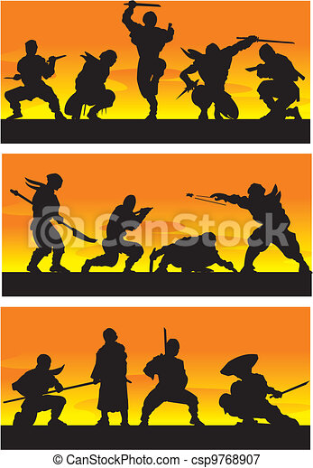 ninja, vector, illustration., sinrise. - csp9768907