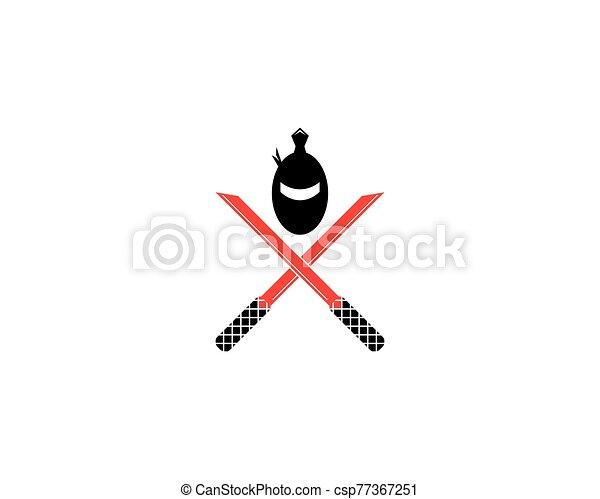 ninja, vector, ilustración, icono - csp77367251
