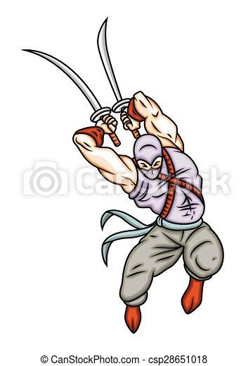 ninja, vector, vechter, illustratie - csp28651018