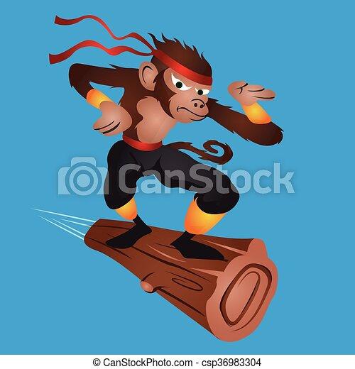 Ninja volare scimmia scimmia cartone animato volare ninja