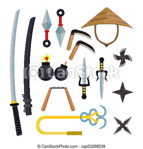 Ninja Weapons Set Vector  Assassin Accessories  Star, Sword, Sai, Nunchaku   Throwing Knives, Katana, Shuriken  Isolated Flat Cartoon Illustration