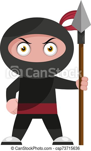 Ninja with spear, illustration, vector on white background. - csp73715636